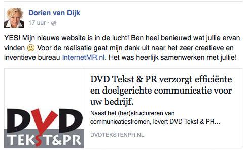 Reactie tevreden klant Dorien van Dijk DVD Tekst en PR